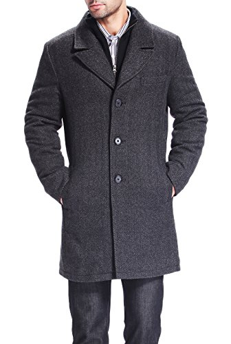 BGSD Men's Derek Herringbone Wool Blend Bibbed Walking Coat, Black - Herringbone Top Coat
