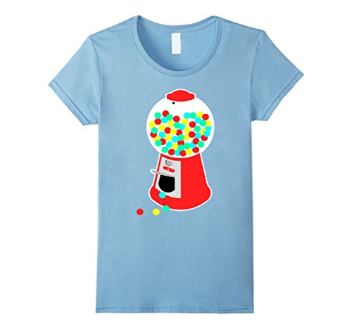 Women's Gumball Machine T-Shirt Vending Machine Candy Chewing Gum Medium Baby Blue