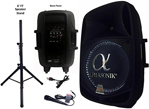 ed 2800W PRO DJ Amplified Loud Speaker Bluetooth USB SD Card AUX MP3 FM Radio PA System LED Ring Karaoke Feature Mic (Main Monitor, Band, Church, Party, Guitar Amp) w/ Tripod Stand ()