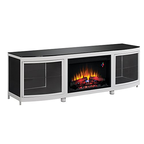 Modern Fireplace Tv Stand For Tvs Up To 80 Inch Silver