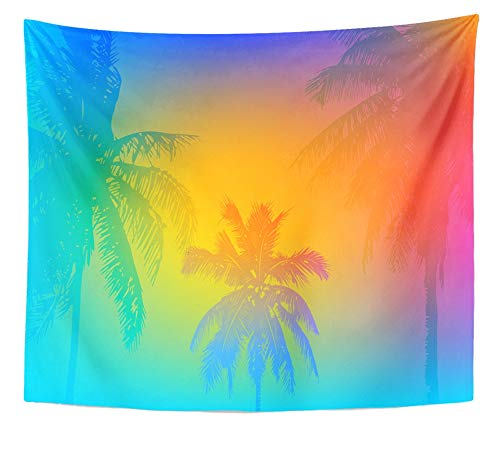 Emvency Tapestry Artwork Wall Hanging Colorful Goa Tropical Sunset Sunrise on Palm Beach Green Retro Summer Tree Abstract 50x60 Inches Tapestries Mattress Tablecloth Curtain Home Decor Print for $<!--$19.90-->
