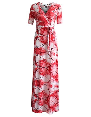 YiLianDa Vestidos de Mujer Manga Corta Bohemio para mujer Verano moda Maxi Vestidos como la imagen