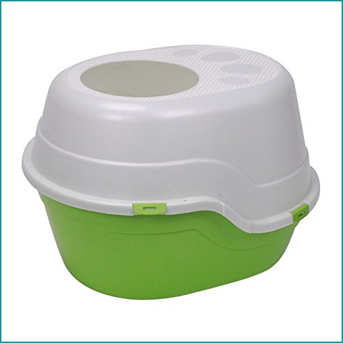 Green Pet Online Cat toilet resin full closed deodorant splashing round cat litter, 55  45  40CM, green