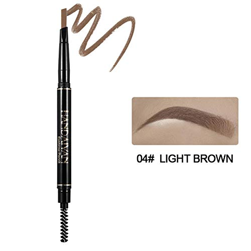 Tzp5ChB Eyebrow, Double Head Eyebrow Pencil Automatic Rotation Pen with Brush Waterproof Makeup - 4# ()