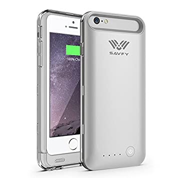 more photos 9f9bc abdfb iPhone 6/6S Battery Case, SAVFY [MFI Apple Certified] iPhone Charger Case  [Silver] - 3100mAh Premium Slim Portable Extended Charger Protective iPhone  ...