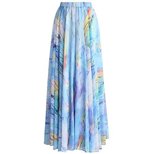 JIANGTAOLANG Women Long Beach Skirts High Waist Plissada Vintage Floral Print Pleated Skirt American Apparel 4 S