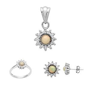 3.80 Ct Ethiopian Opal White Topaz 925 Sterling Silver Pendant Stud And Ring Jewelry Set