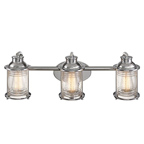 Cheap  Globe Electric 51272 Bayfield 3 Vanity Light Finish, Ribbed Seeded Glass Shades,..