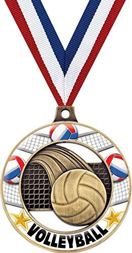 バレーボールメダル - 2インチ ゴールド バレーボール グロー リム 4.0 メダル アワード B07GH91GTK  100