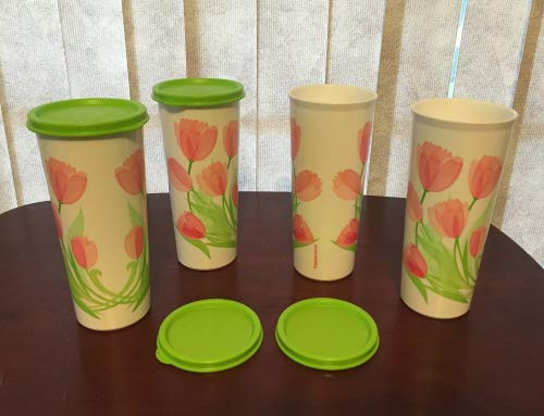 Tupperware Tulips Set of Four 16-oz Tumblers with Seals featuring matching print New 2016