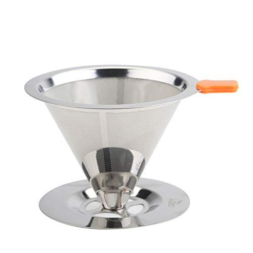 Vansee❤❤HOT Stainless Steel Pour Over Cone Dripper Reusable Coffee Filter with Cup Stand]()