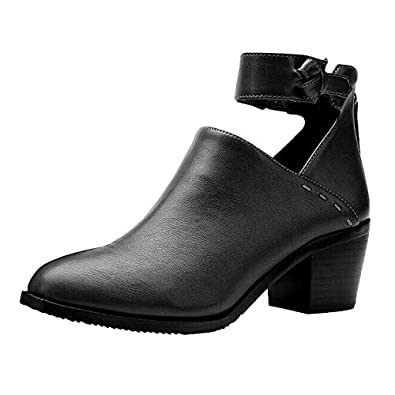 025eaf484 Amazon.com | VANDIMI Women's Ankle Boots Chunky Heel Cutout Booties with  Back Zipper Vintage Ankle Strap Pointed Toe PU Black Leather Shoes | Ankle  & Bootie