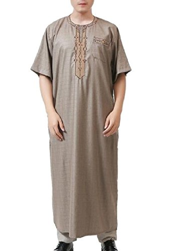 omniscient Mens Causal Muslim Plaid Thobe Short Sleeve Button Arabic Arab Dress Robe 4 XL