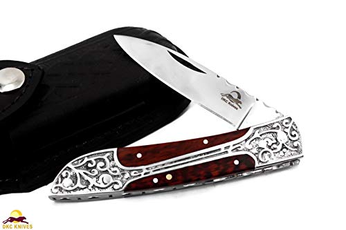 - DKC Knives DKC-37-SE-440c Victorian Snake Eyes 440c Stainless Steel Folding Pocket Knife Snake Eyes Wood 7.75
