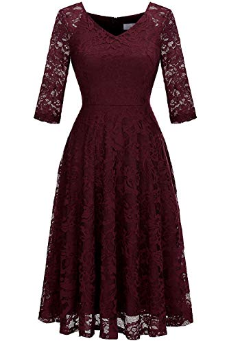Dressystar Long-Sleeve A-Line Lace Bridesmaid Dress Midi for Wedding Formal Party L Burgundy