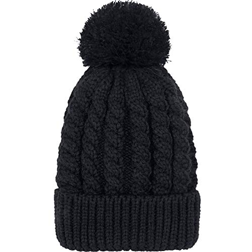 (Women's Winter Beanie Warm Fleece Lining - Thick Slouchy Cable Knit Skull Hat Ski Cap(Black1))