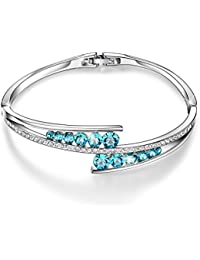"Valentines Gifts ""Love Encounter"" Swarovski Crystals Bangle Bracelets White Gold Plated Adjustable Hinged Jewelry"