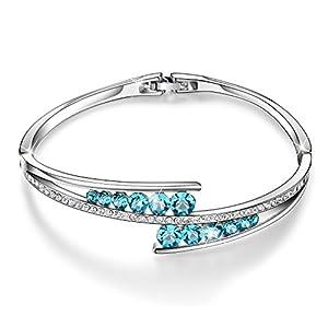 "Menton Ezil ""Love Encounter"" Sapphire Blue Bracelets Woman Bangle 7″ Charm Tennis Jewelry"
