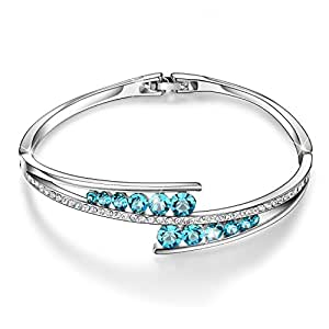 """Menton Ezil """"Endless Love"""" 7 Inches Bangle and Bracelets Gemstone Sapphire Swarovski Element Crystal Jewelry Round Shape Stone Crystal 925 Silver Hinged Bracelet Bangles for Mother Girls Womens Gifts"""