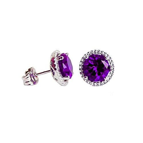 Swarovski Amethyst - Swarovski Crystals Birthstone Stud Earrings (Amethyst)
