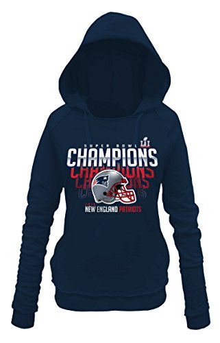 NFL New England Patriots Adult Women NFL Ladies Super Bowl Pullover Hood Sweatshirt, Large, Navy
