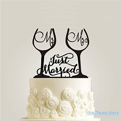 Wine Glass Cake Topper Mr Mrs Just Married Acrylic Wedding Cake Topper For Wedding Cake Decorations by Tamengi