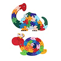 LovesTown 2Pcs Wooden Animal Puzzles, Alphabet Jigsaw Puzzle Building Blocks Alphabet Animal Puzzle for Children Toddlers-Snail& Dinosaur