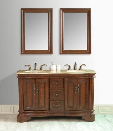 Moscone 58u0026quot; Double Sink Bathroom Vanity Set