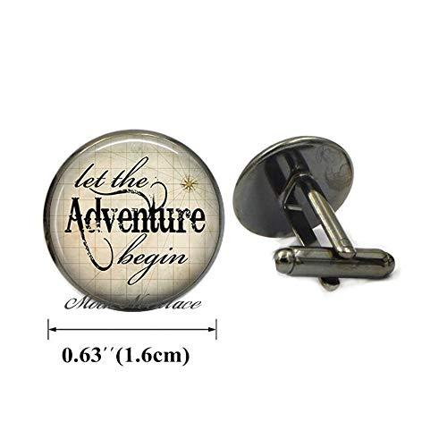 - CrescentMoonNecklace Fashion Cufflinks,Dainty Cufflinks,Simple Cufflinks,Let The Adventure Begin Cufflinks,Graduation Gift for Graduate Travel Jewelry Adventurer's Gift Inspirational Cuff Links-ZE148