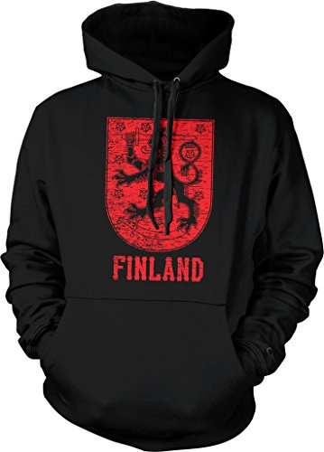 Finland, Coat of Arms, Crowned Lion, Grand Duke of Finland Hooded Sweatshirt, NOFO Clothing Co. L Black (Coat Of Finnish Arms)