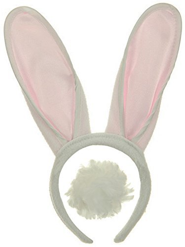Jacobson Hat Company White & Pink Bunny Ears Headband with Fluffy Tail