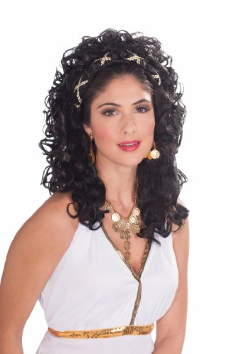 Forum Novelties Women's Roman Greek Goddess Renaissance Princess Costume Wig, Black, One Size -