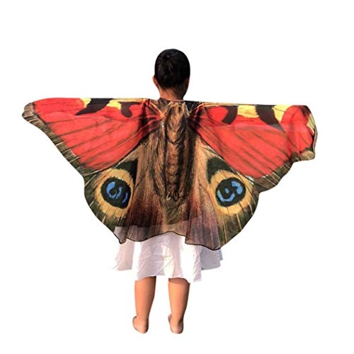 (Forthery Halloween Butterfly Wings for Kids, Costume Play Shawl Scarves, Perfect for Halloween Costumes(Medium, Red))