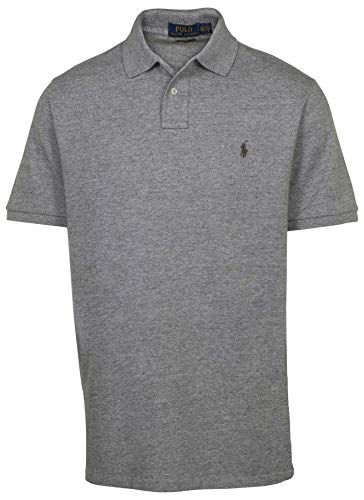 (Polo Ralph Lauren Men Custom Fit Mesh Pony Logo Shirt (XXL, GreyHth) Gray)