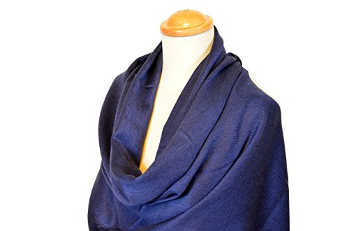 NEW COLORS Women's Luxury Silk Wool Twill Pashmina Shawl / Wrap (One Size, Navy Blue)