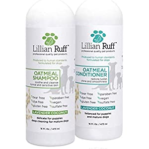 Lillian Ruff Dog Oatmeal Shampoo and Conditioner Set – Lavender Coconut Scent for Itchy Dry Skin with Aloe- Deodorize… Click on image for further info.