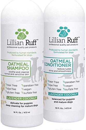 Lillian Ruff Dog Oatmeal Shampoo and Conditioner Set - Safe for Cats - Lavender Coconut Scent for Itchy Dry Skin with Aloe- Deodorize and Soothe - Gentle Cleanser for Normal to Sensitive Skin (16oz.) ()