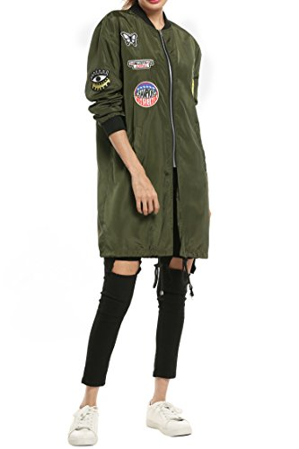 Giacca Giacca Meaneor militare trench Donna Donna verde ACCwdqO