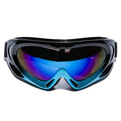 MIGAGA UV Protection Ski Goggles Adjustable Portable Motorcycle Bicycle Goggles Dustproof Scratch-Resistant CS Army Tactical Military Windproof Snowmobile Eyewear Outdoor Riding Glasses Black&Blue