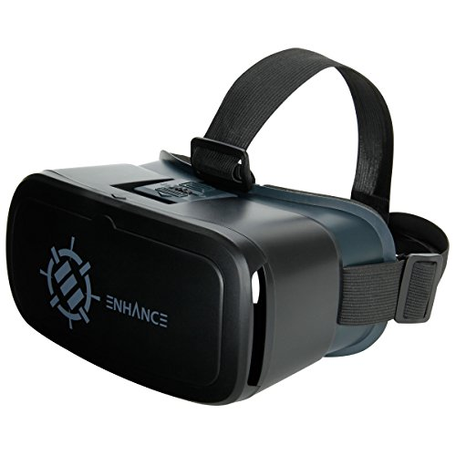 ENHANCE 3D VR Headset with Comfortable Nose-Padding & Adjustable Head Strap – Works With Apps Google Cardboard, Titans of Space, War of Words & more