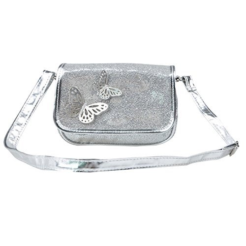 Girls Handbag Silver (Felice Little Girl Glitter Purse Sequin Sparkly Princess Bag with Butterfly Applique Christmas Gift (white))