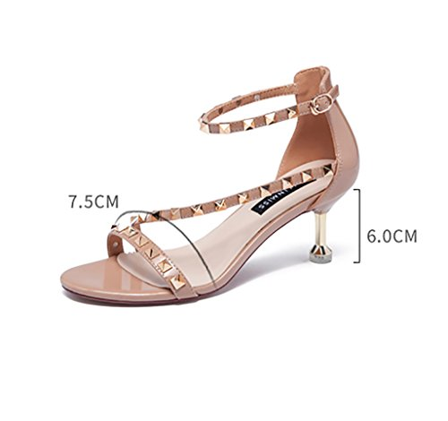 Nude ZCJB Sandals Mid Sexy Color Toed Simple Roma Heel Woman Rivets Open vqa4dwqS