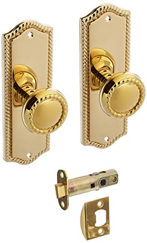 (Colonial Revival Rope Design Door Set With Matching Rope Knobs Passage In Polished Brass. Decorative Door Knob.)