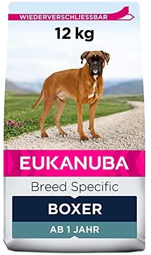 Eukanuba Breed Specific Boxer Trockenfutter – optimal auf die Rasse abgestimmtes Premium Hundefutter mit Huhn, 12 kg