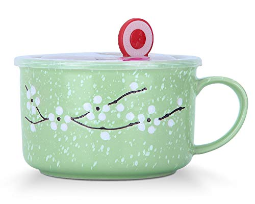 VanEnjoy 30oz Ceramic Bowl with Lid & Handle,Cherry Blossoms Among Snow Flake Pattern,Microwave for Instant Noodle Sara, Cereal Bowl