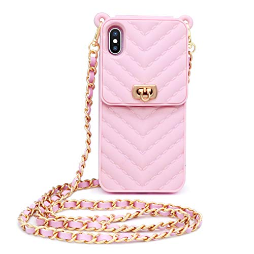 Price comparison product image Fusicase for iPhone XS Max Wallet Case with Neck Strap Crossbody Chain Credit Card Holder Slot with Handbag Wrist Strap Protective Cover for Girls Women Silicone Shockproof Case for iPhone XS Max Pink
