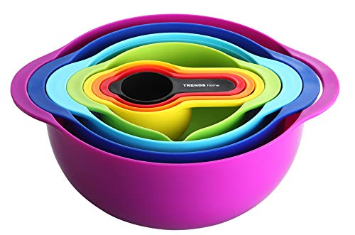 Dishwasher Plastic Safe Colander (TRENDS home 8 Pc Stackable Mixing Bowl Set, Colorful Kitchen Mixing Bowls, Ideal kitchen mixing bowls, Nesting Mixing Bowls & Measuring Cups, Durable BPA Free Plastic Mixing Bowl set with handles.)
