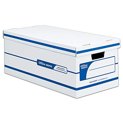 - Office Depot 60% Recycled Quick Set-Up Storage Boxes with Lift-Off Lid, Letter, 10inH x 12inW x 24inD, White/Blue, pk of 12, 0800403