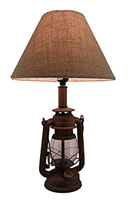 Metal Table Lamps Antique Finish Vintage Style Candle Lantern Lamp W/Burlap Fabric Shade 20 Inch 12 X 19.5 X 12 Inches Brown