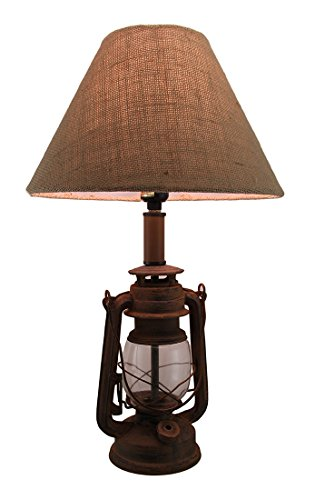 - Antique Finish Vintage Style Candle Lantern Lamp w/Burlap Fabric Shade 20 Inch